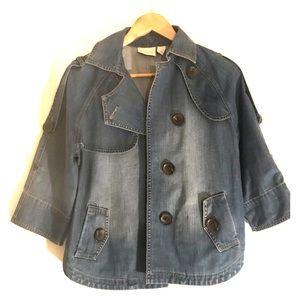 Chico's button up jean kimono jacket, sz 0.